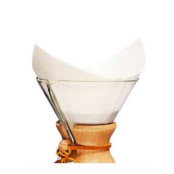 Chemex coffee filters shown in use for brewing pour-over coffee.