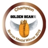 Emblem for Bronze Medal Winner in 2019 Golden Bean Awards. Earned by Amavida Coffee Roaster's Espresso Mandarina.
