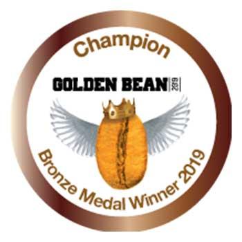 Emblem for Bronze Medal Winner in 2019 Golden Bean Awards. Earned by Amavida Coffee Roaster's Espresso Mandarina.