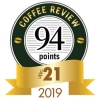Coffee Review scored Amavida Coffee Roasters' Espresso Mandarina 94 points. Because this coffee ranked spot #21 on Coffee Review's Top 30 Coffees of 2019, we were awarded the medallion seen here.