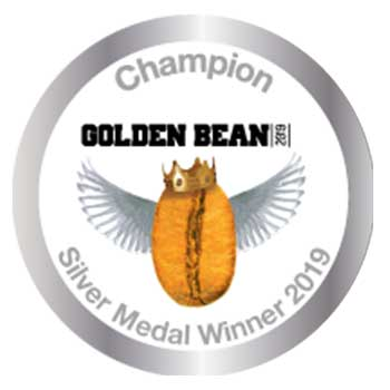 Emblem for the Silver Medal Winner 2019 Golden Bean Awards. This award was earned by Amavida Coffee Roaster's Espresso Mandarina.