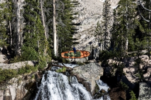 Sawtooth Mountain in Stanley, Idaho with paddle boarder Gabriel Gray