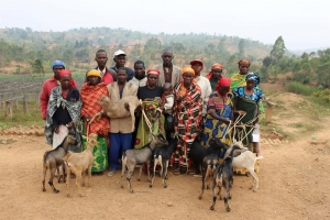 Burundi coffee producers from Nemba showing their gratitude for the goats donated.