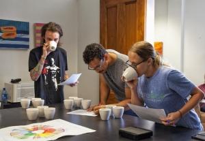 Amavida Coffee Roasters' team cupping coffee in Florida