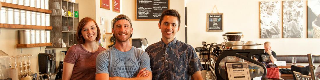 Friendly Baristas at Amavida Coffee & Tea in historic St Andrews, FL