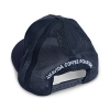 "Back view of custom trucker hat in navy blue with ""AVCR"" embroidered on the front patch."