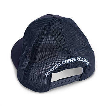 """Back view of custom trucker hat in navy blue with """"AVCR"""" embroidered on the front patch."""