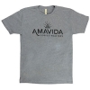 Amavida Coffee Roasters classic grey t-shirt with carbon neutral company seal on the back. Printed on recycled fabric.