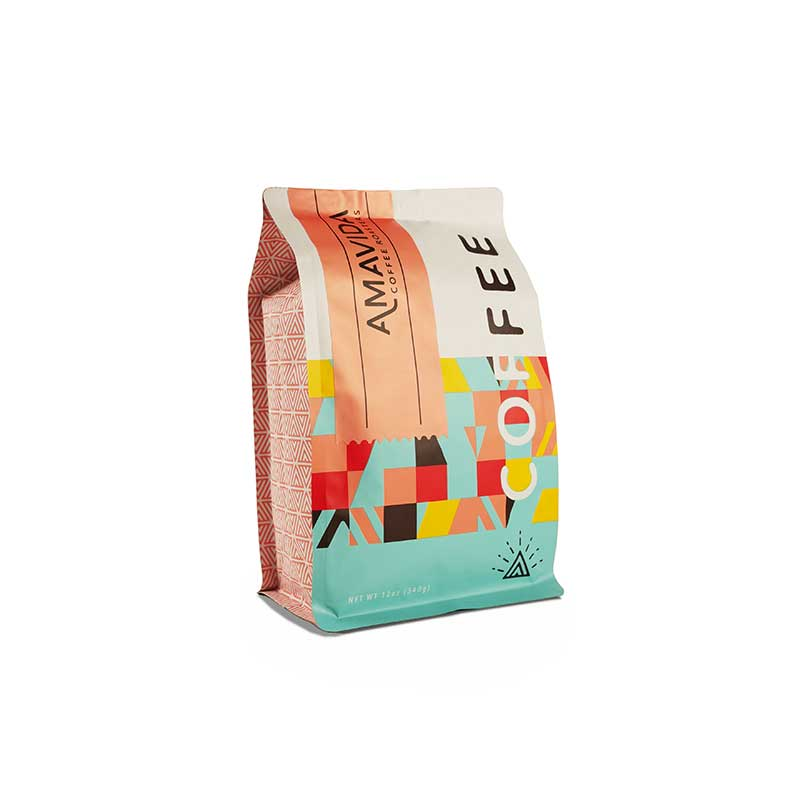 Best coffee bag design for Amavida Coffee Roasters with coral label.