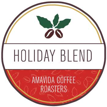 Holiday Blend Coffee by Amavida Coffee Roasters. This is designed as a Christmas gift for coffee lovers.