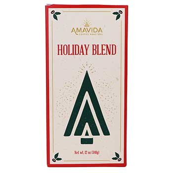 Front of Amavida Coffee Roasters' Holiday Blend Coffee Gift