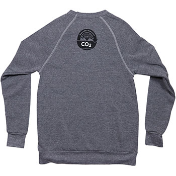 Back view of Amavida Coffee Roasters' grey pullover sweatshirt made with USA recycled fabric and featuring Taking Root's Carbon Responsible coffee brand logo.