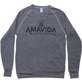 "Front view of grey pullover sweatshirt made with USA recycled fabric and featuring ""Amavida Coffee Roasters"" brand logo."