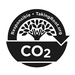 Taking Root's CO2 Responsible logo for our carbon neutral coffee products.