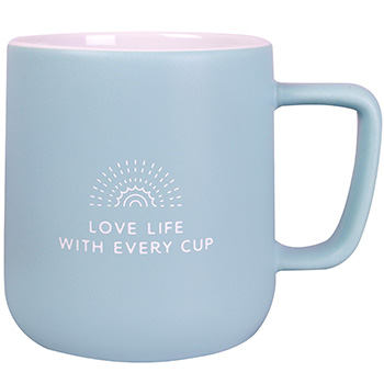"Powder blue ceramic mug with ""Love Life With Every Cup"" design by Amavida Coffee Roasters"