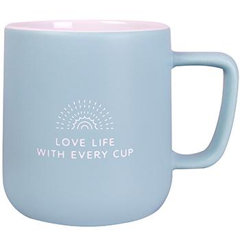 "Powder blue ceramic mug with ""Love Life With Every Cup"" design by Amavida Coffee Roasters"