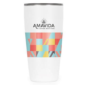 This 16oz white tumbler with Amavida Coffee Roasters logo and a custom pattern celebrate people creating positive change.