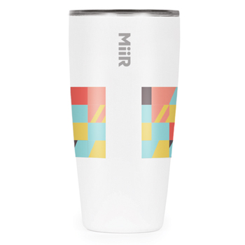 The best travel tumbler for coffee can be seen here. It is is a 16 oz stainless steel mug made by MiiR with custom pattern print.