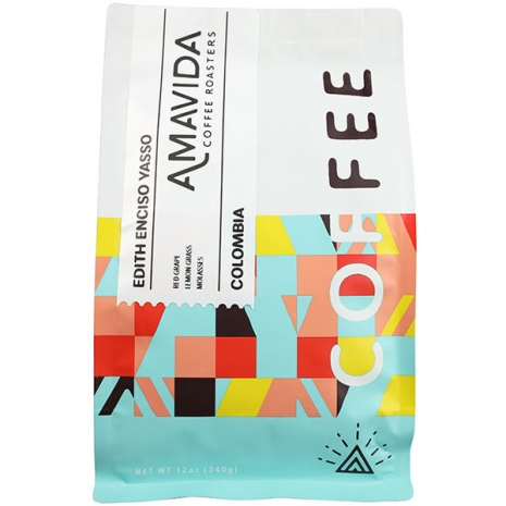 Amavida Coffee Roasters 12oz bag of reserve series Colombian microlot coffee by Edith Enciso Yasso
