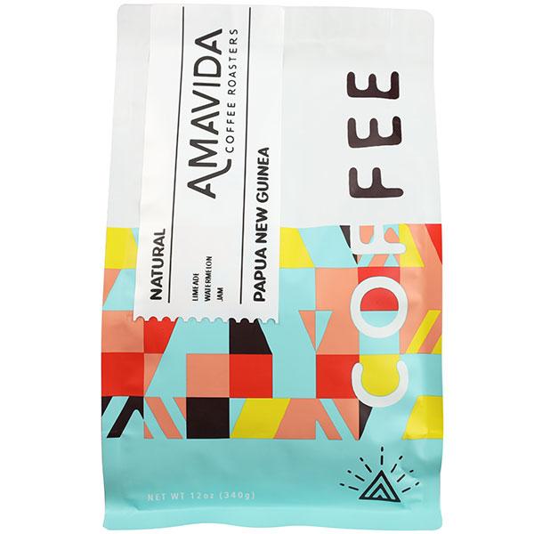 Amavida Coffee Roasters 12 oz bag of Natural Papua New Guinea Coffees By Baroida Estate.