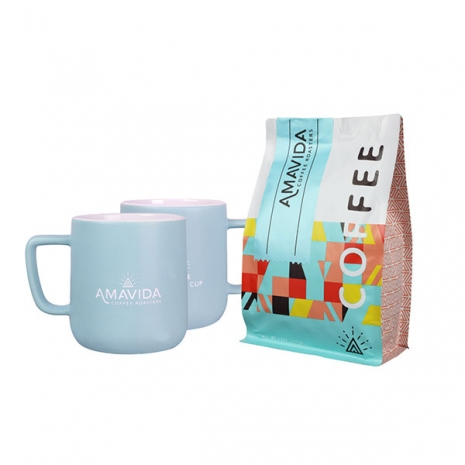 Amavida Coffee Roaster's 'Love Life' ceramic mug set featuring 12oz bag of carbon neutral Atmosphere coffee blend