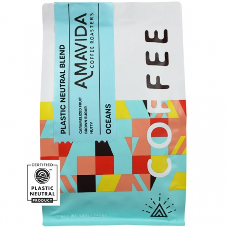 12 oz bag of Amavida Coffee Roasters 100% Plastic Neutral Oceans blend
