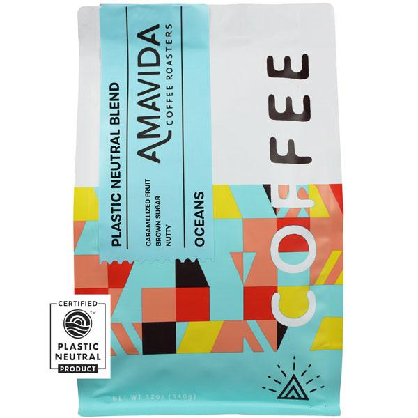 12 oz bag of Amavida Coffee Roasters 100% Plastic Neutral Oceans blend