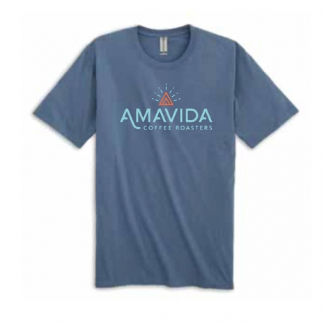 Blue 100% Organic cotton soft shirt with Amavida Coffee Roasters logo on the front and CO2 Responsible logo on the back.