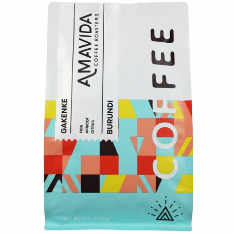 A 12 oz bag of Amavida Coffee Roasters fulll of an exceptional Burundi Kayanza coffee from the Gakenke washing station.