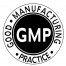 Black and white Good Manufacturing Practice certification emblem for Amavida Coffee Roasters