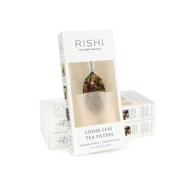 Three white 100 count boxes of natural hemp Loose Leaf Tea Bags from Rishi.