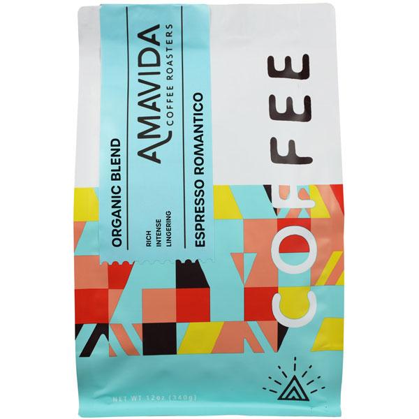 12oz bag of Amavida Coffee Roasters' traditional Espresso Romantico