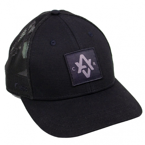 "Patch hat with ""AVCR"" custom design in black"