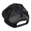 """Back view of """"AVCR"""" trucker hat with patch in black."""