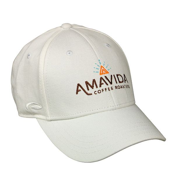 Front view of white cotton Amavida logo hat with custom embroidered design and leather back closure