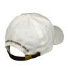 Back view of white cotton Amavida logo hat with custom embroidered design and leather back closure