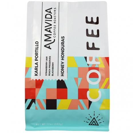 Amavida Coffee Roaster's 12 oz bag of organic, honey process Honduras coffee by Karla Portillo and the COMSA Cooperative