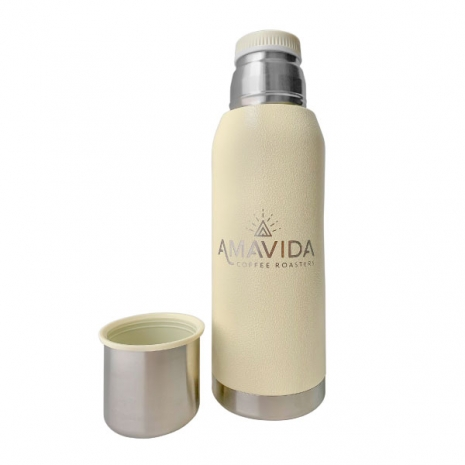 Front view of custom Hyper Pure Ceramic 36 oz Amavida Coffee Thermos with Cup in cream color.